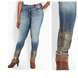 18 ASHLEY STEWART SEQUIN DISTRESSED SKINNY JEANS